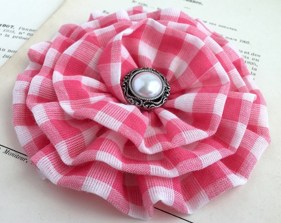 Watermelon Pink & White Gingham Flower Hair Clip or Brooch Pin.Choose Button/Bead Finish