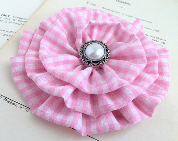 Large Pink Gingham Fabric Flower Brooch Pin and/or Hair Clip. Choose your button/bead finish. Handmade.