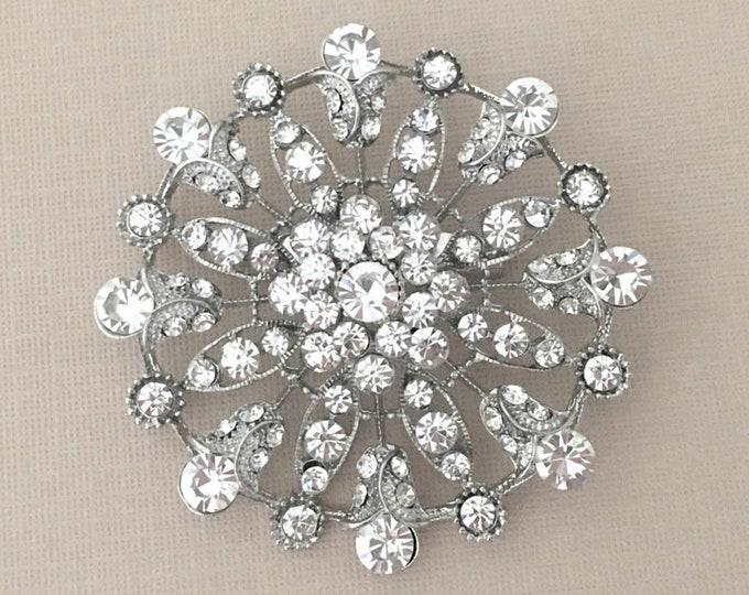 Rhinestone Flower Brooch Pin