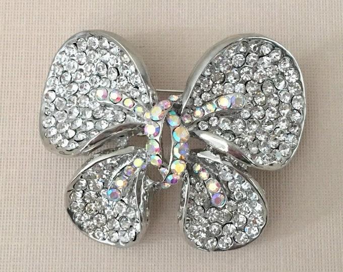 Aurora Borealis Butterfly Pin.Aurora Borealis Butterfly Brooch.AB Butterfly Brooch.Rhinestone Butterfly Brooch.Crystal Butterfly Brooch