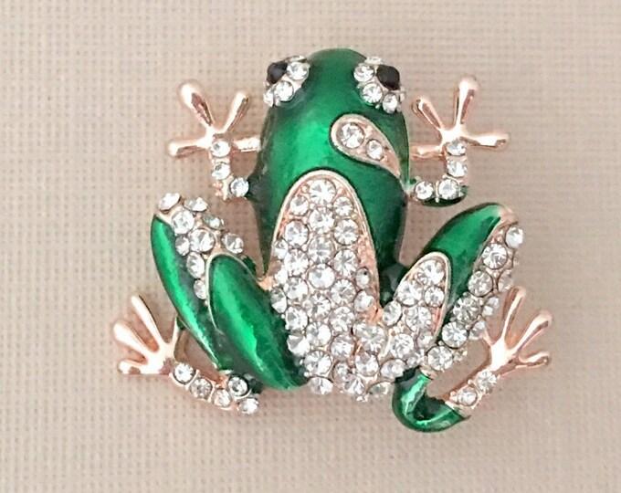 Green Frog Pin.ROSE GOLD Frog Brooch.Green Rhinestone Enamel Frog Brooch.Green Crystal Enamel Frog Brooch.Rose Gold Brooch Pin.Reptile Pin