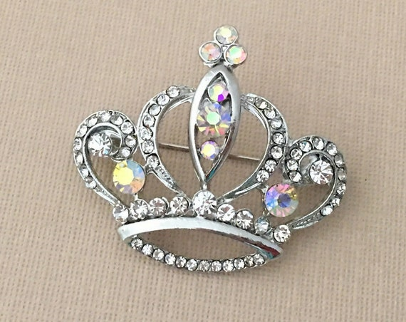 Silver AB Crystal Crown Brooch Pin