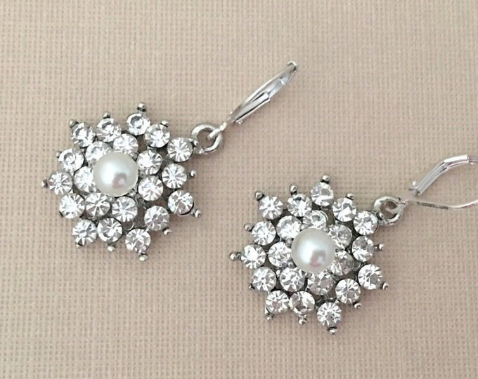 Pearl & Rhinestone Dangle Earrings. Flower or snowflake earrings.