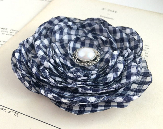 Navy & White Gingham Flower Brooch Pin or Hair Clip. Choose button/bead finish. Handmade.