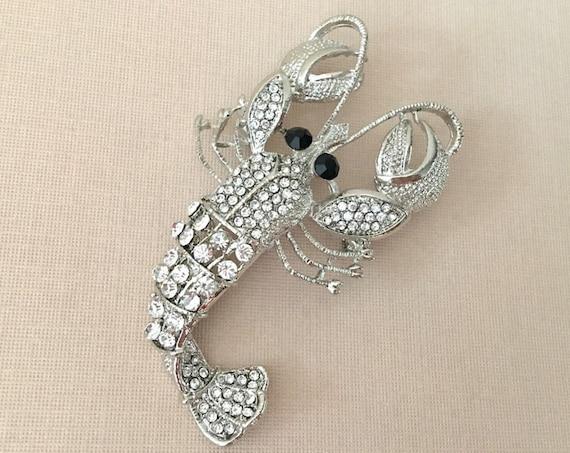 Rhinestone Lobster Brooch Pin