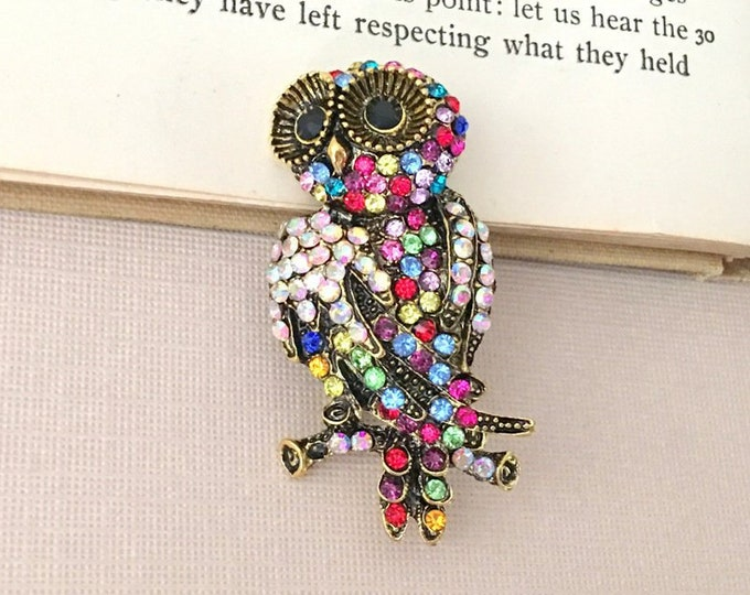 Colorful Owl Rhinestone Brooch Pin