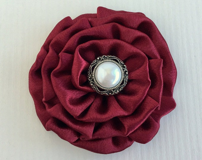 Burgundy Satin Flower Hair Clip and/or Brooch Pin. Choose Button Finish. Handmade.