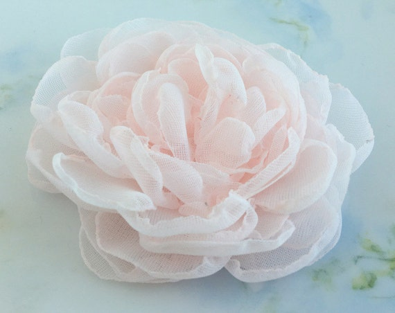 Blush Pink Chiffon Flower Hair Clip or Brooch Pin. Choose your size and backing.