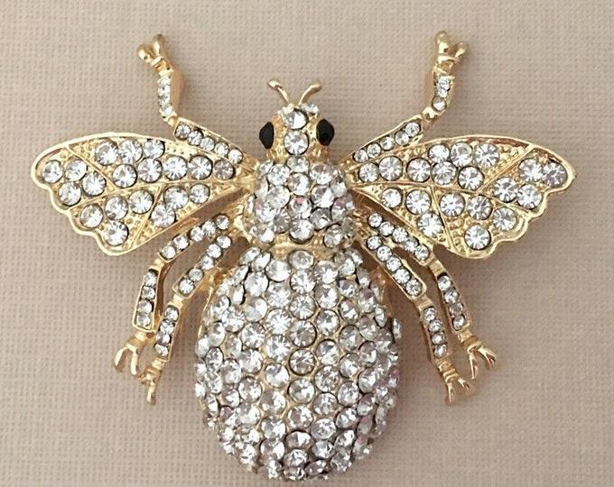 Large Gold & Rhinestone Bee Brooch Pin