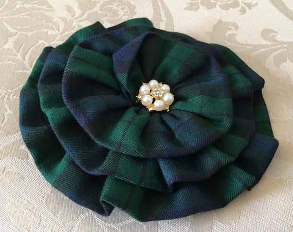 Navy & Green Tartan Plaid Flower Brooch Pin and/or Hair Clip. Choose your button/bead finish. Handmade.