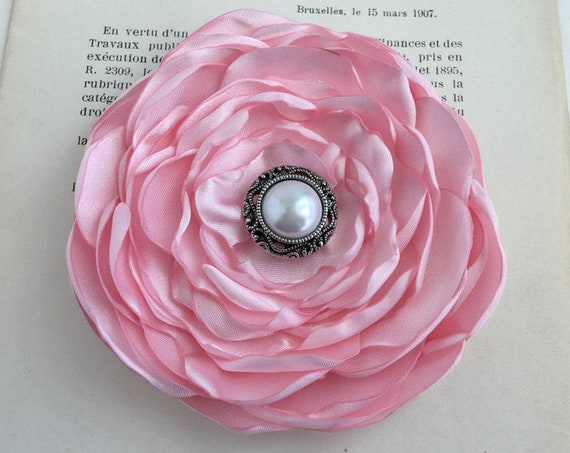 Light Pink Satin Flower Brooch Pin or Hair Clip. Choose Size & Button/Bead Finish. Handmade.