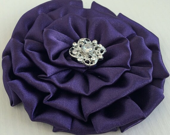 Eggplant Fabric Flower Brooch Pin and/or Hair Clip. Choose your button/bead finish. Handmade.
