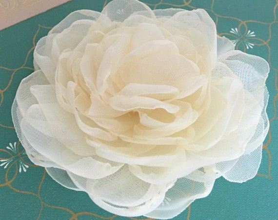 Cream Peony Style Flower Hair Clip, Brooch/Pin, Hair Comb, or Hair Pin. Choose your size.