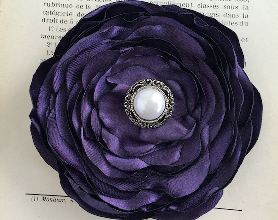Eggplant Flower Brooch Pin or Hair Clip. Choose your size and button/bead finish. Handmade.