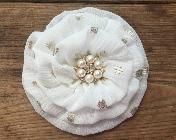 Off White & Gold Flower Brooch Pin and/or Hair Clip