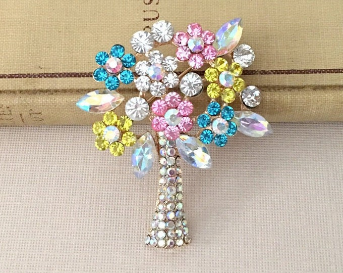 Colorful Tree Brooch.Tree Rhinestone Brooch.Crystal Tree Brooch.Blue,Pink,Yellow Tree Brooch.Multicolor Tree Brooch.Multi-Color Tree Pin