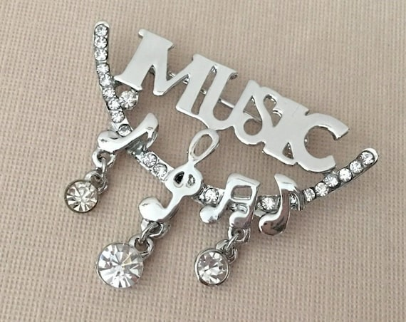 Music Theme Pin.Music Notes Brooch.Silver Treble Clef Brooch.Silver Music brooch.Music Themed Broach.Marching Band Brooch Pin.Band Geek Pin