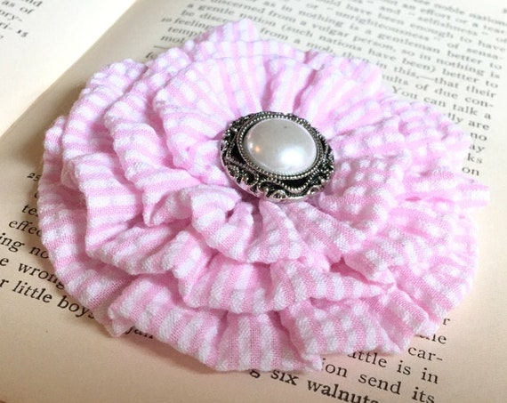 Light Pink & White Seersucker Hair Clip and/or Brooch Pin. Choose your button/bead finish. Handmade.
