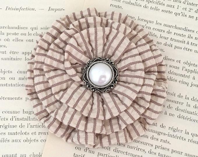 Tan Seerucker Fabric Flower Brooch Pin and/or Hair Clip. Choose button/bead finish. Handmade.