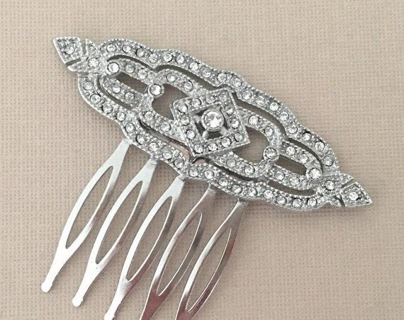 Art Deco Style Bridal Hair Comb. Platinum color.