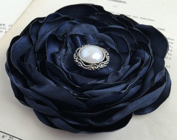 Dark Navy Flower Brooch Pin or Hair Clip. Choose your size and button/bead finish. Handmade.