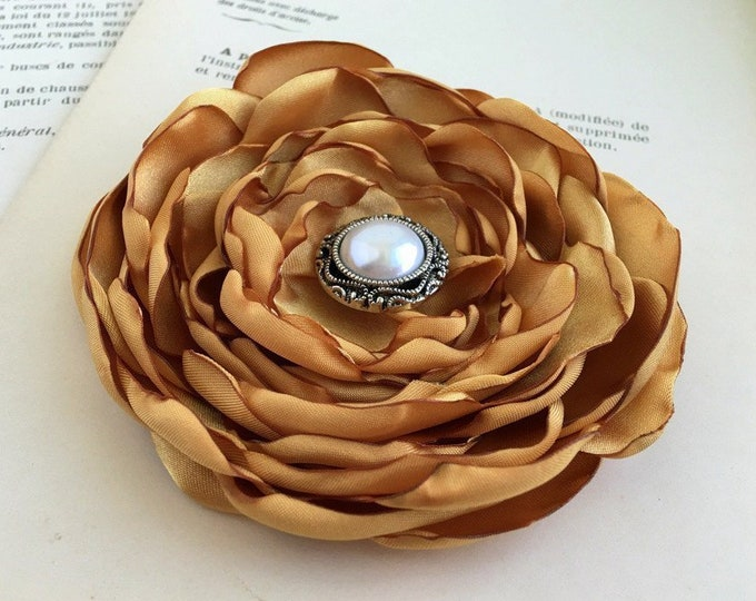 Dark Gold Flower Hair Clip or Brooch Pin. Choose Size & Button/Bead Finish