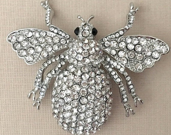 Large Silver & Crystal Bee Brooch Pin