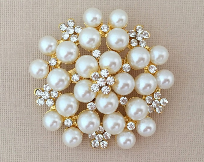 Gold, Pearl and Crystal Brooch Pin