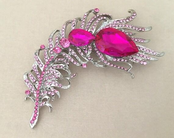 Pink Rhinestone Feather Brooch Pin