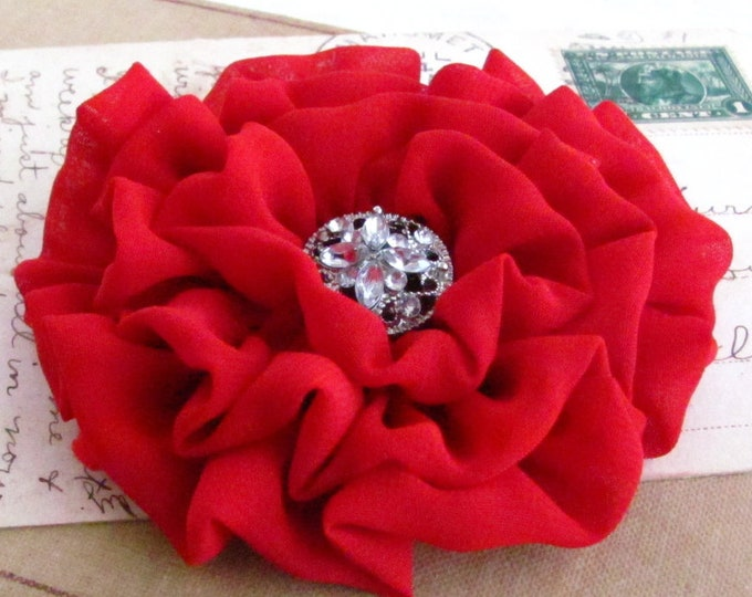 Red Fabric Flower Hair Clip and/or Brooch Pin. Choose your button/bead finish. Handmade.
