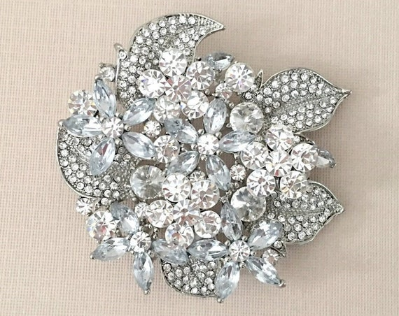 Large Rhinestone Bridal Brooch Pin