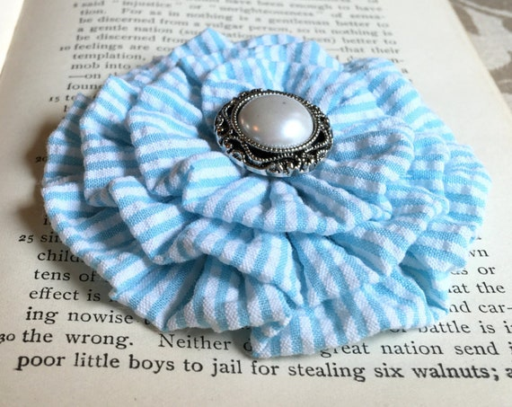 Light Blue & White Seersucker Brooch Pin and/or Hair Clip. Choose your button/bead finish. Handmade.