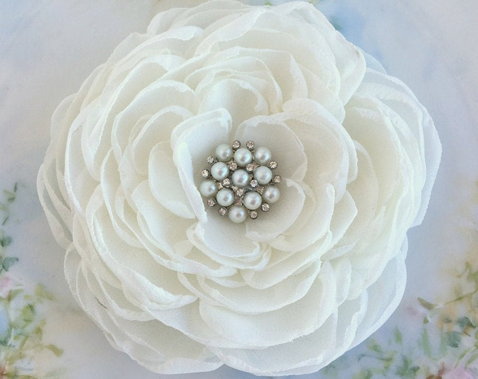 Ivory Chiffon Fabric Flower Hair Clip and/or Brooch Pin. Choose size/button finish. Handmade.