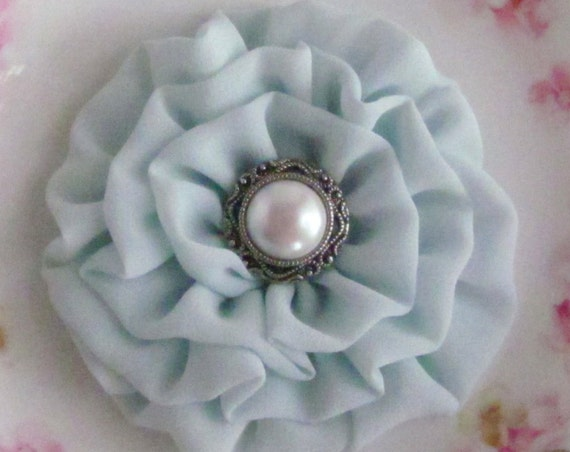 Seafoam Flower Brooch Pin or Hair Clip. Choose your button/bead finish. Handmade.