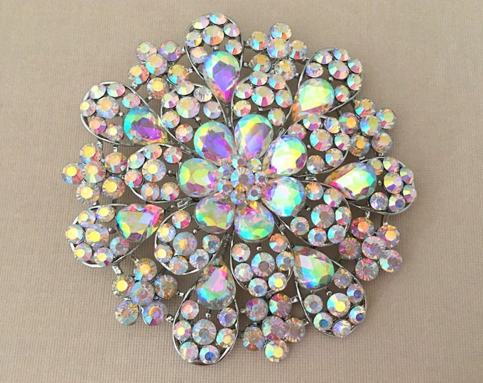 Large Aurora Borealis Flower Brooch Pin