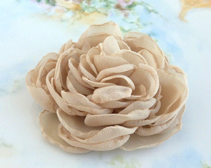Champagne Chiffon Peony Flower Hair Clip, Brooch Pin , or hair comb. Last one available.