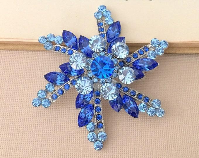 Blue Rhinestone Starburst PENDANT
