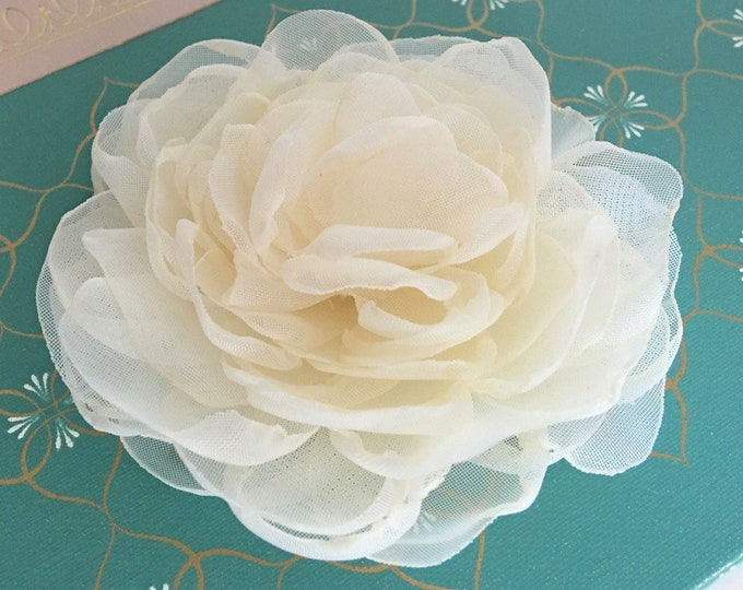 Cream Peony Style Flower Hair Clip, Brooch/Pin, Hair Comb, or Hair Pin. Choose your size. Handmade.