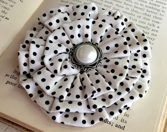 Ivory & Black Polka Dot Flower Hair Clip and/or Brooch Pin. Choose your button/bead finish. Handmade.