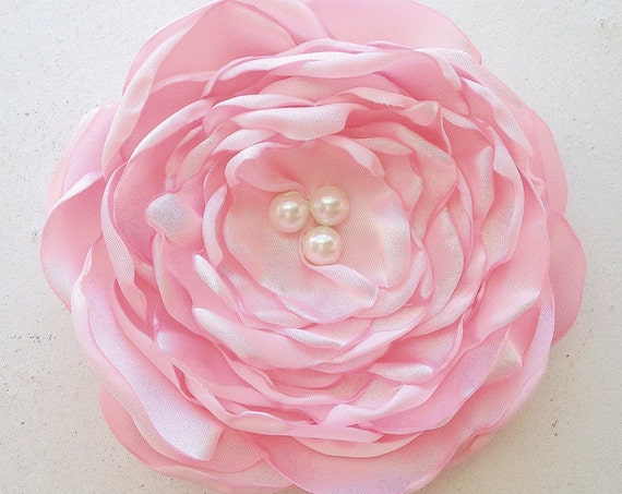Light Pink Flower Brooch Pin or Hair Clip. Choose your size and button/bead finish. Handmade.