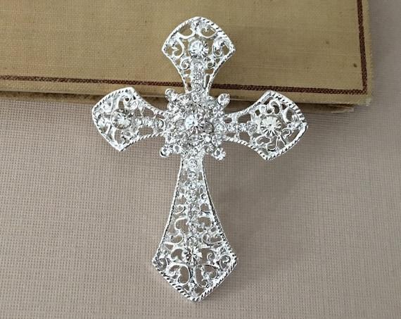 Silver & Rhinestone Cross Brooch Pin