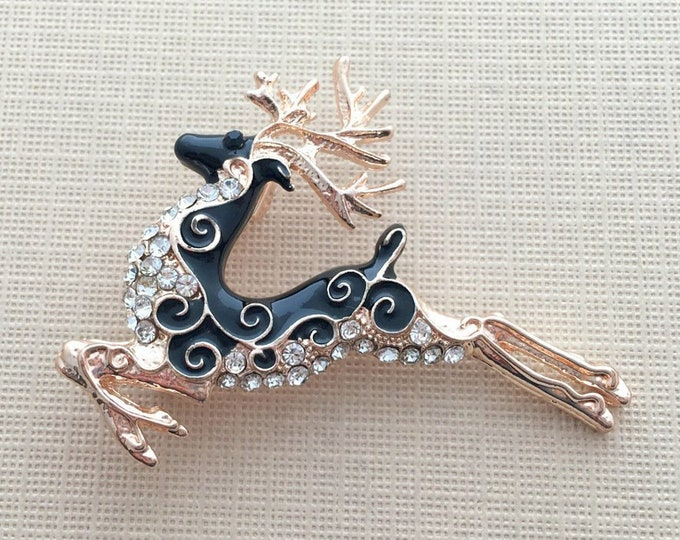 Black & Rose Gold Reindeer Brooch Pin