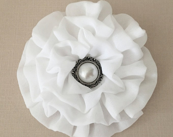 White Chiffon Flower Brooch Pin and/or Hair Clip. Choose your button/bead finish. Handmade.