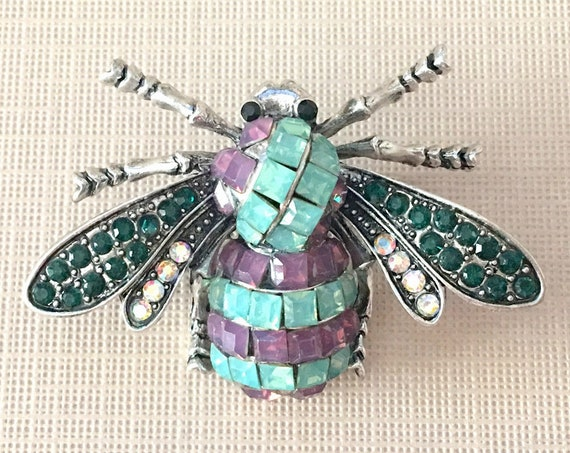 Crystal Bee Brooch.Green Crystal Bee Brooch.Green Silver Bee Brooch.Green Rhinestone Bee Pin.Green Purple Bee Brooch.Vintage Style Bee Pin