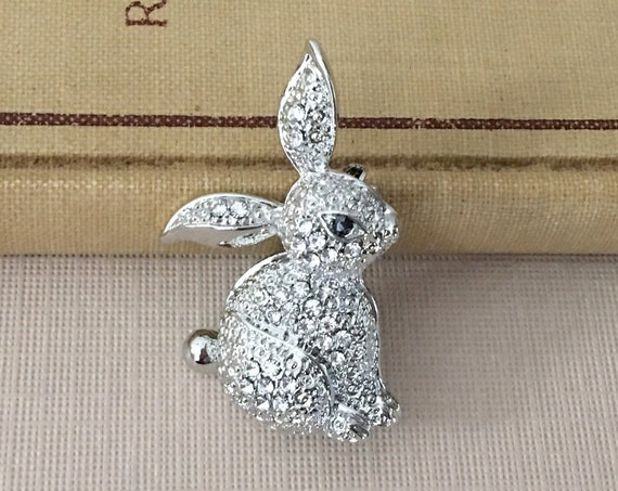Rhinestone Bunny Rabbit Brooch Pin