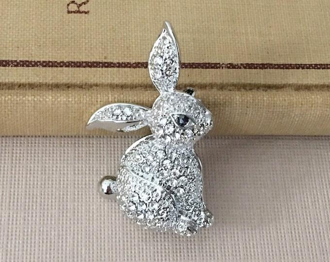 Rhinestone Bunny Rabbit Brooch Pin