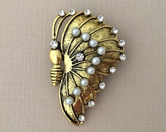 Antique Gold Butterfly Brooch Pin & Pendant