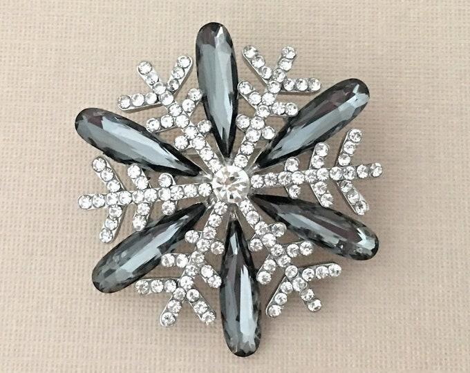 Gray Rhinestone Snowflake Brooch Pin