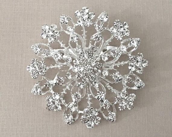 Rhinestone & Silver Flower Brooch Pin