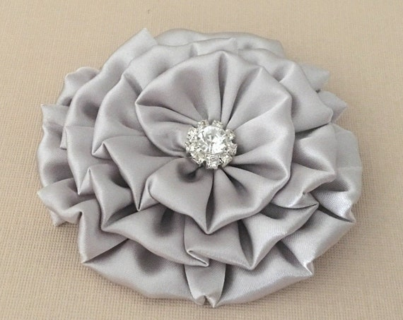 Gray Satin Flower Hair Clip and/or Brooch Pin. Choose your button/bead finish. Handmade.